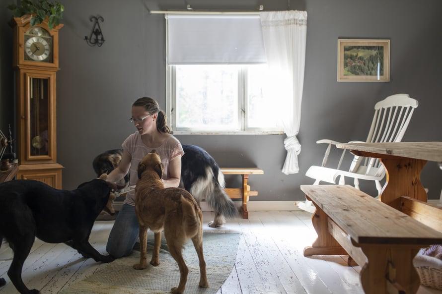 """Tämä on kuva Anne-Marin olohuoneesta. Kalustus oli valmiina, kun Anne-Mari osti pientilansa. Hän on siihen tyytyväinen. """"Mitä Palokankaalta ei löydy, sitä ei tarvita."""""""