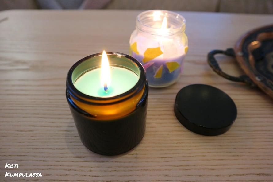 Itsetehtyyn kynttilään on tärkeää valita oikean kokoinen sydän, jotta kynttilä palaa tasaisesti.