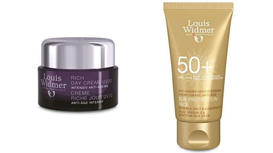 Louis Widmerin uudet Rich Day Cream UV30 -päivävoide sekä Sun Protection Face 50+ -aurinkosuoja.