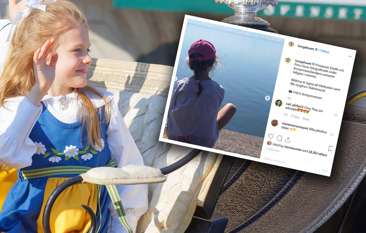 Prinsessa Estelle kuvattuna kesäkuun alussa kansallispäivänä (vas.) ja myöhemmin kesällä (oik.).