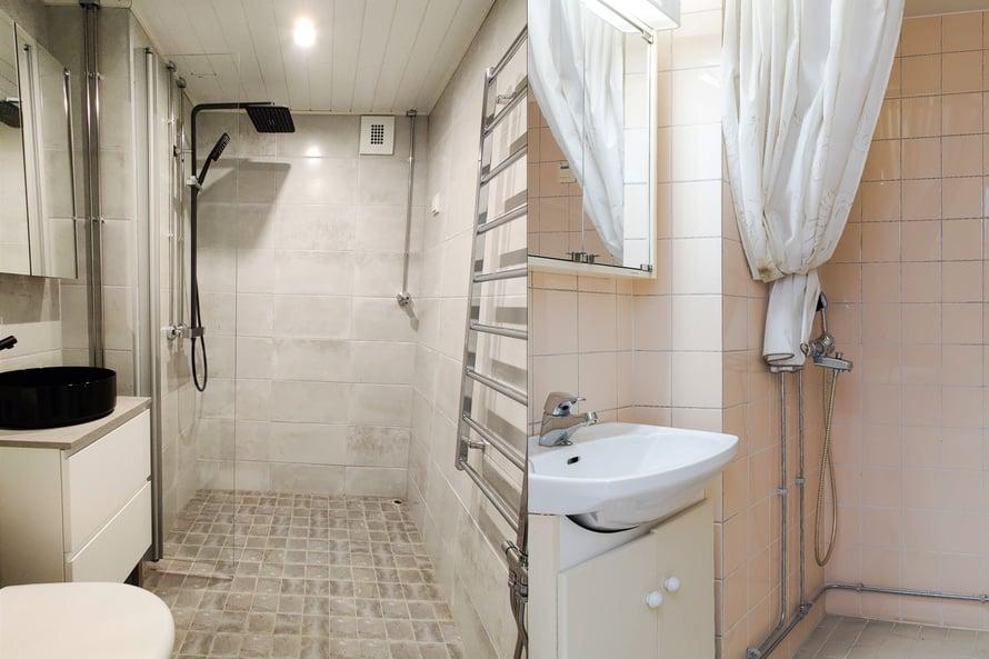 Kylpyhuone koki remontissa todellisen muodonmuutoksen. Vasemmalla kuva jälkeen, oikealla ennen.