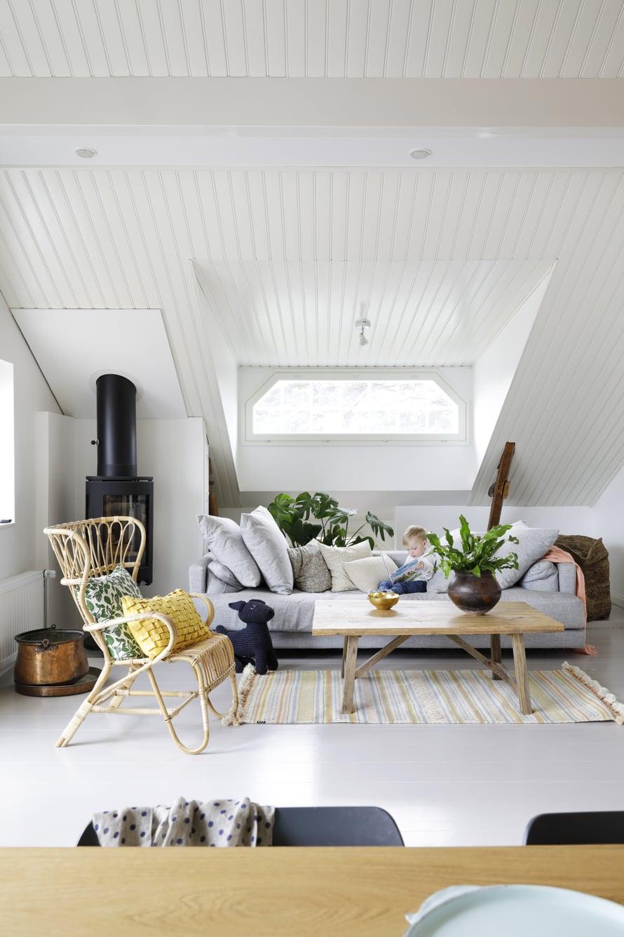 Viiston katon alla olevan sohvan takana on poikien majapaikka. Klassinen Laura-korituoli on Sokevan. Kuva: Jaanis Kerkis