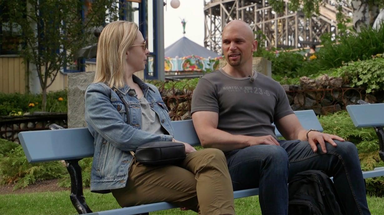 Viimeksi nähdyssä jaksossa Mari ja Petri viettivät huvipuistopäivää varautuneina, mutta helpottuneina. Kuva: Mtv3