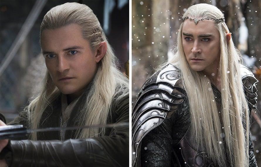 Vasemmalla Orlando Bloom (Legolas), joka oli ensimmäisen Hobitti-elokuvan ilmestyessä 35-vuotias. Oikealla hänen isäänsä näytellyt, kaksi vuotta nuorempi Lee Pace (Thranduil).