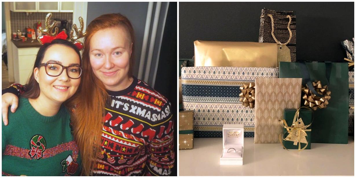 Jennan (kuvassa vas.) ja Petran jouluperinteeseen kuuluu kunnon kalenteri. Kuvat: Jennan ja Petran kotialbumi