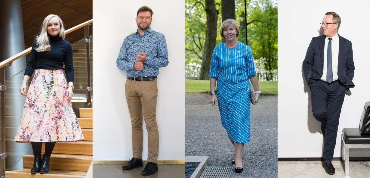 Ministerit Maria Ohisalo, Timo Harakka, Anna-Maja Henriksson ja Mika Lintilä työasuissaan.
