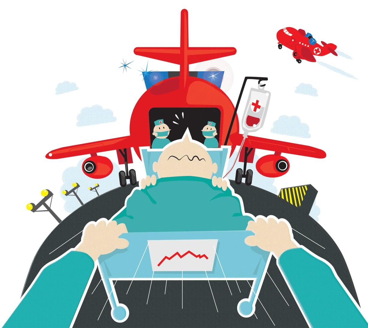 Ambulanssilennon korvaa yleensä potilaan vakuutusyhtiö tai työnantaja. Jos matkavakuutusta ei ole, asiakas joutuu pahimmillaan maksamaan siirron itse. Kuvitus: Petri Rotsten