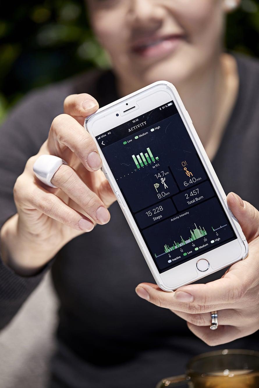 Älypuhelinsovellus analysoi sormuksen keräämän tiedon – täyttyivätkö päivän tavoitteet?