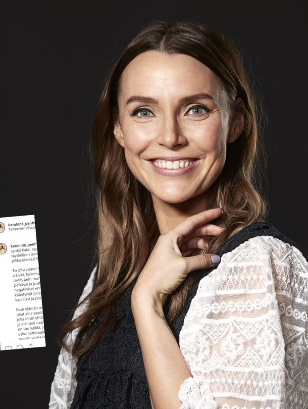 Karoliina Pentikäinen on nyt kolmen lapsen äiti. Hän pitää suosittua Kolmistaan-blogia Menaiset.fi:ssä ja on myös Me Naisten kolumnisti.