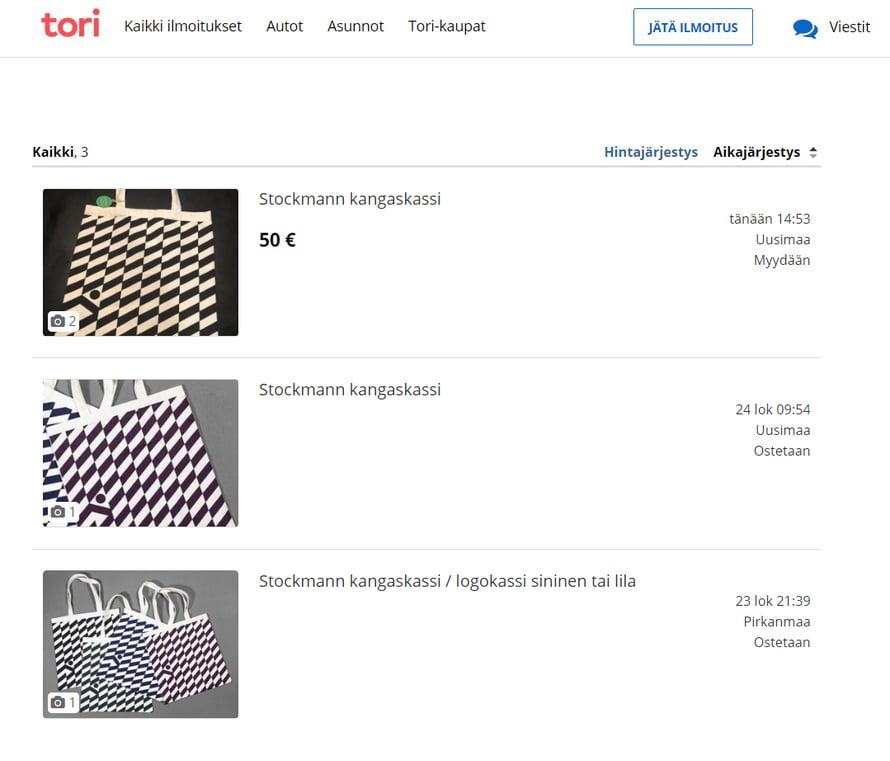 Stockmann-kassien myynti- ja ostoilmoituksia Tori-fi-kauppapaikalla.