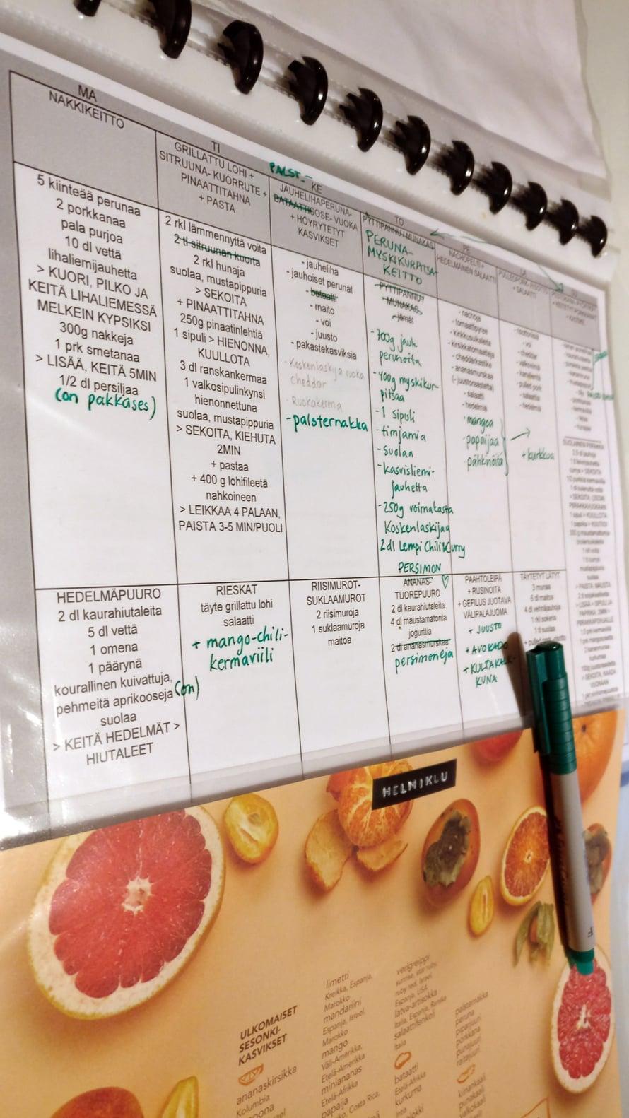 Ruokalista pysyy siistinä muovitaskussa, johon on helppo tehdä muutoksia poispyyhittävällä tussilla. Annika muuttaa reseptien vihannekset ja hedelmät viikoittain satokausikalenterin mukaisiksi.