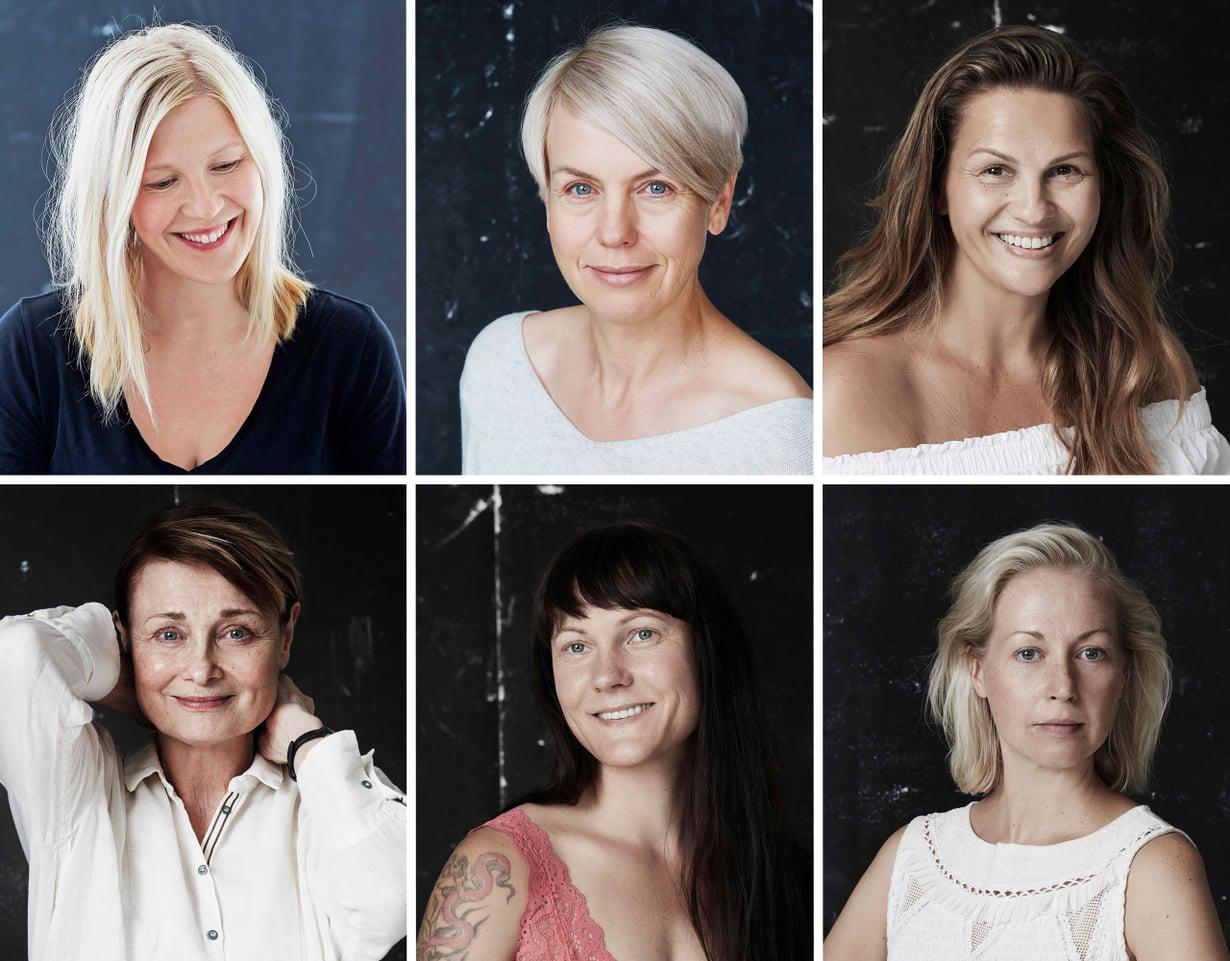 Glorian Paljaana-sarjassa tunnetut naiset poseeraavat ilman meikkiä. Kuvat: Sanoma-arkisto / Jonas Lundqvist