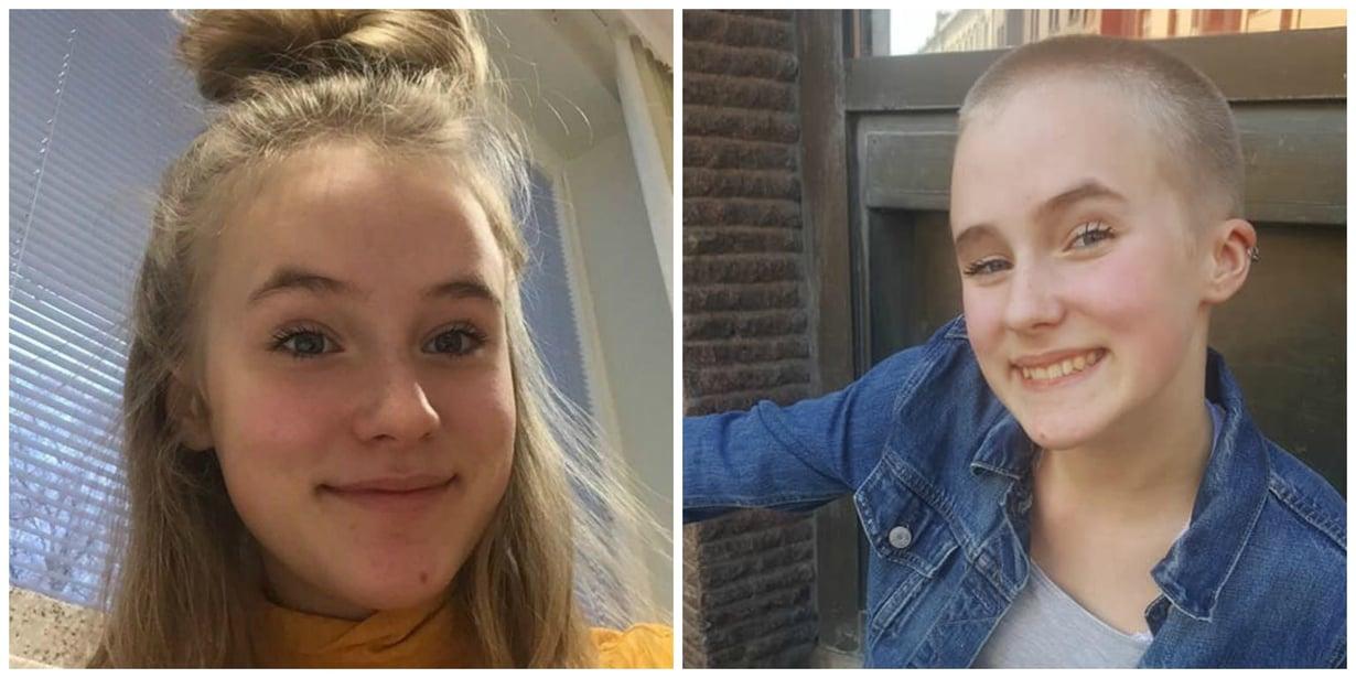 Linda ennen ja jälkeen hiustenleikkauksen. Kuvat: Linda Putkosen kotiarkisto.