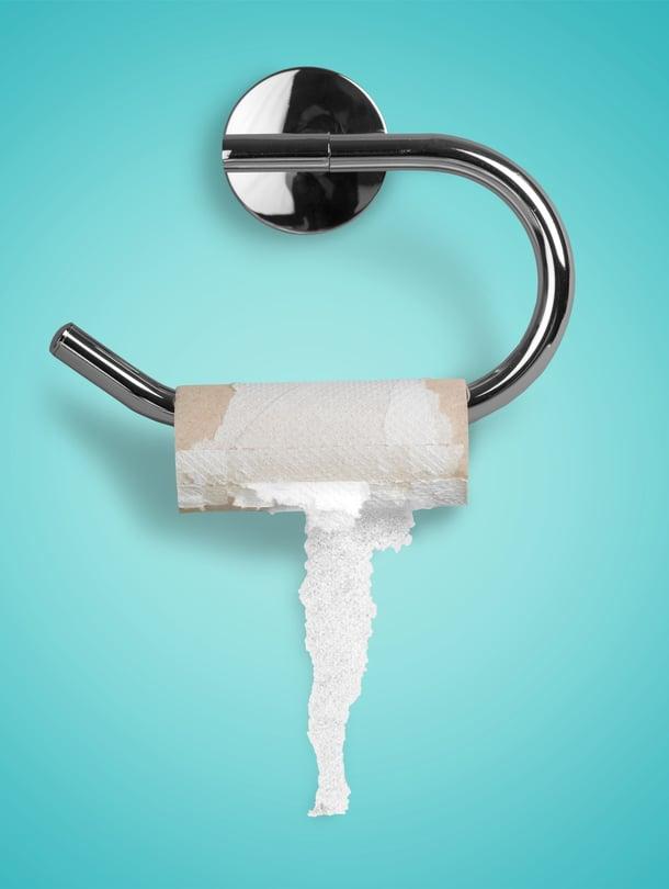 90 prosenttia vastanneista asetteli vessapaperirullansa siten, että paperi tulee rullan yläpuolelta.