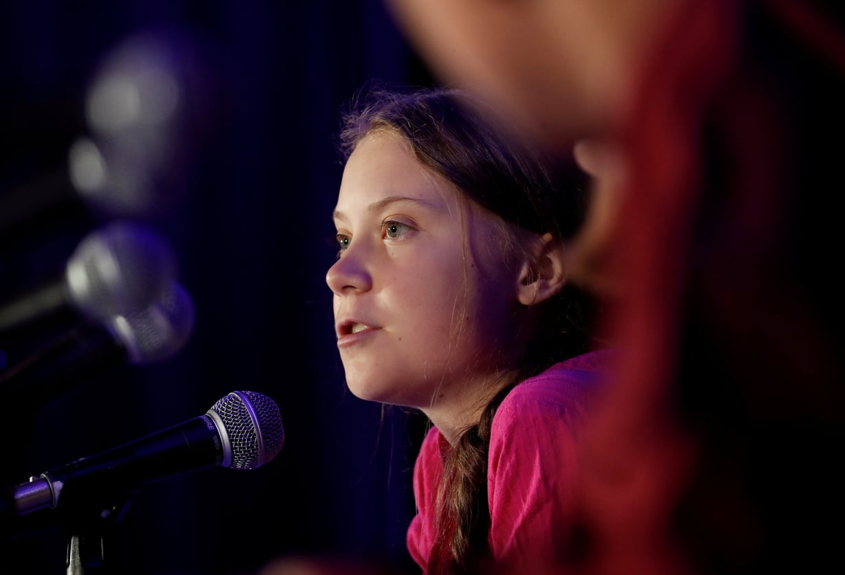 Greta Thunberg kuvattuna 23. syyskuuta YK:n ilmastokokouksessa pitämänsä puheen aikana.