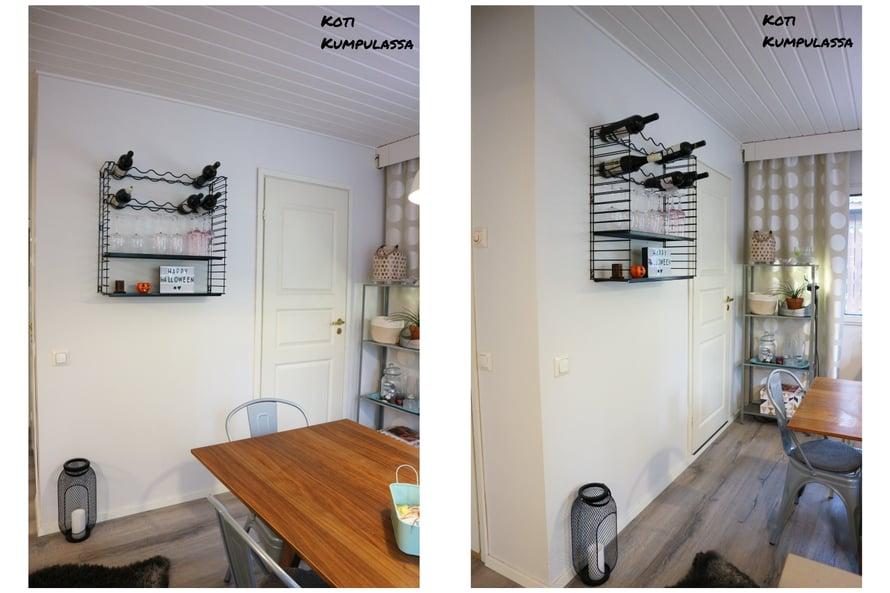 Metallinen seinähylly viimeistelee ruokailutilan sisustuksen.