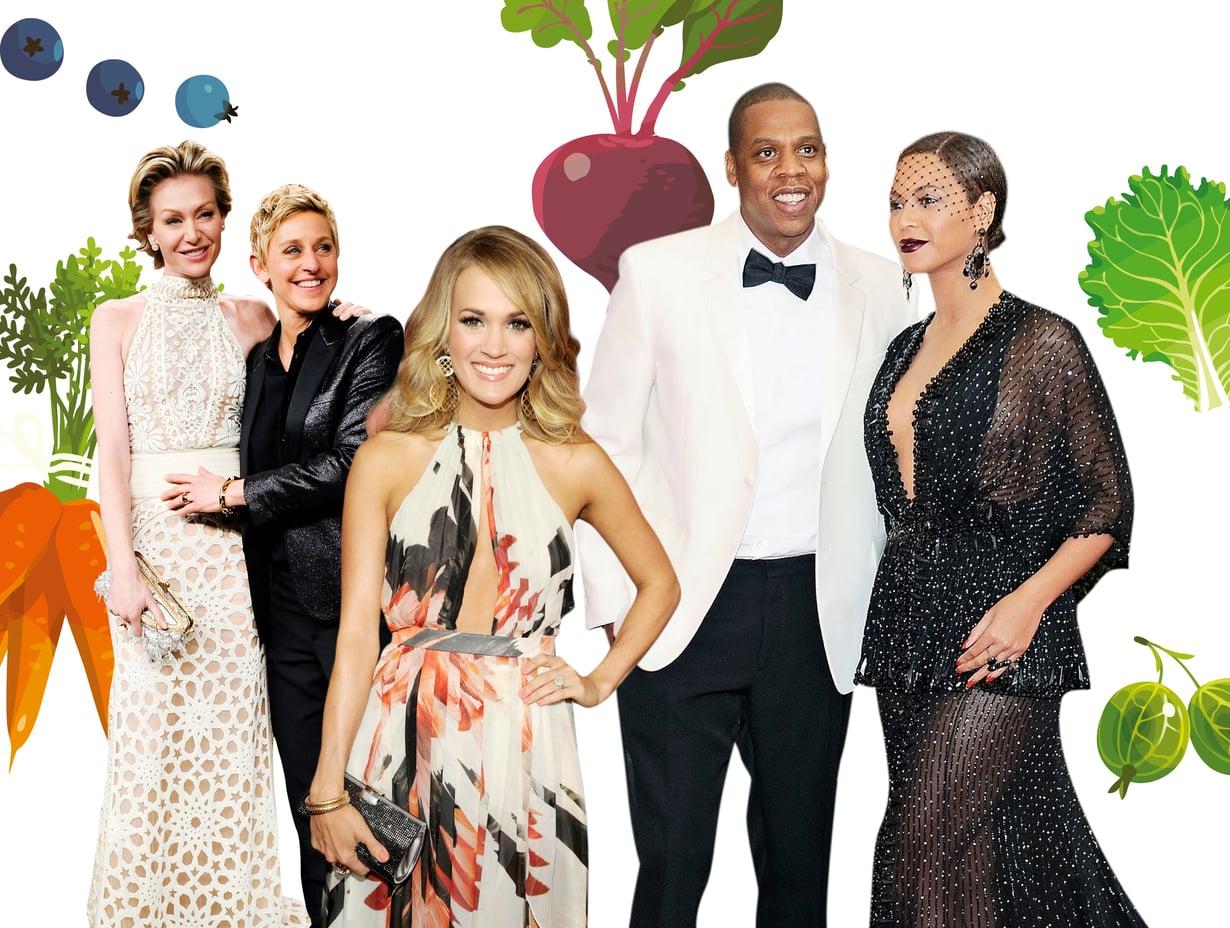 Talk show -emäntä Ellen DeGeneres sekä hänen vaimonsa Portia de Rossi ovat vegaaneita, kuten myös laulaja Carrie Underwood sekä muusikkopariskunta Beyoncé ja Jay-Z. Kuvat: MVphotos, Shutterstock