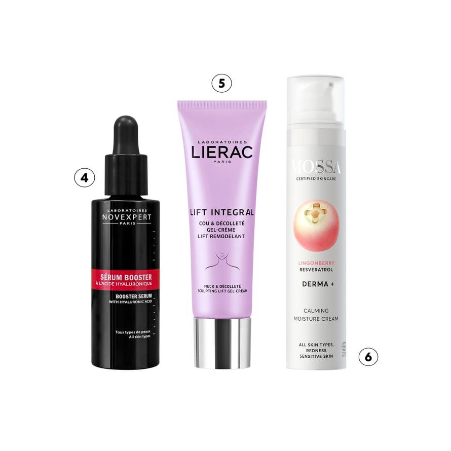 4. Novexpert Hyaluronic Acid Booster tekee ihosta sileän. Hellävaraista seerumia voi levittää myös silmänalusiholle, 49,90 € / 30 ml. 5. Geelimäinen Lierac Lift Integral Neck -voide on tarkoitettu silottamaan erityisesti kaulan ja dekolteen ihoa, 67 € / 40 ml. 6. Ärtyneelle ja stressaantuneelle iholle suunnitellussa Mossa Derma+ -sarjan Calming Moisture Cream -kasvovoiteessa on hyaluronihappoa, 15,40 € / 50 ml.