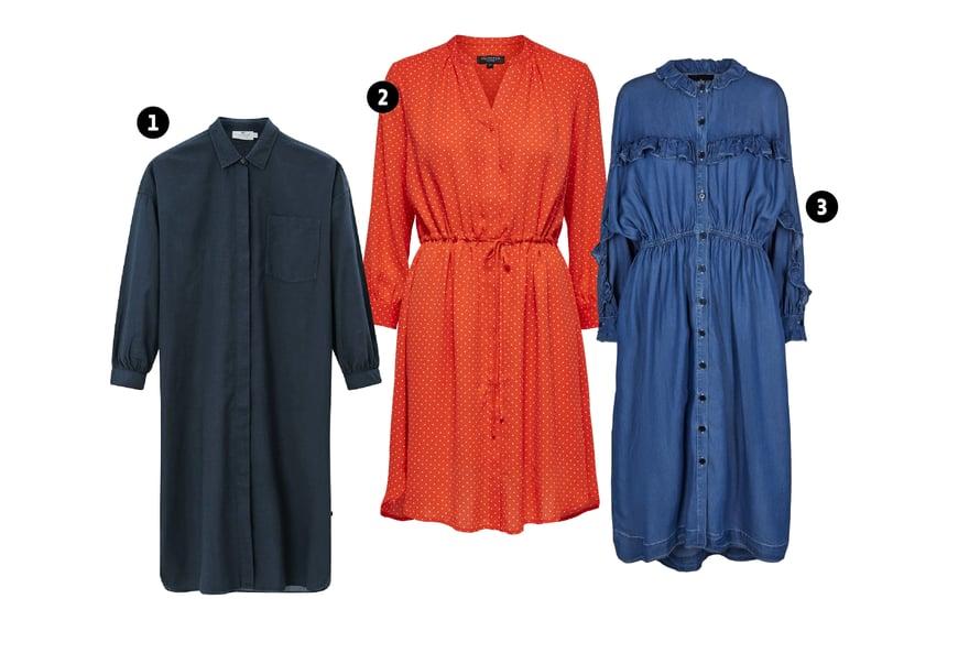 1. Paitamekkoa voi käyttää myös jakkuna, 189 €, Lexington.  2. Selected Femmen mekko on kierrätyspolyesteriä, 79,99 €.  3. Monikäyttöinen mekko on loman todellinen työjuhta, joka muuntuu asusteilla tilaisuudesta toiseen, 229,95 €, Designers Remix.