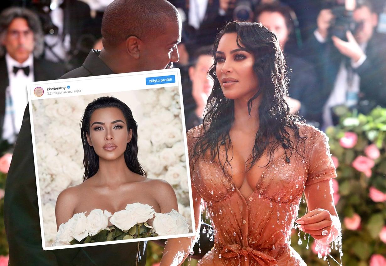 Tämän vuoden Met-gaalassa Kim Kardashian Westin kasvoilla nähtiin glitterillä somistettu smoky eye. Hänen häätyylinsä on hillitympi.