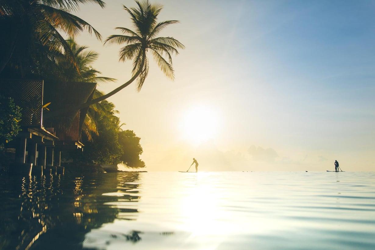 Unelmien Malediivit: kirkasta vettä, palmuja, rantaa. Kuva: Getty images