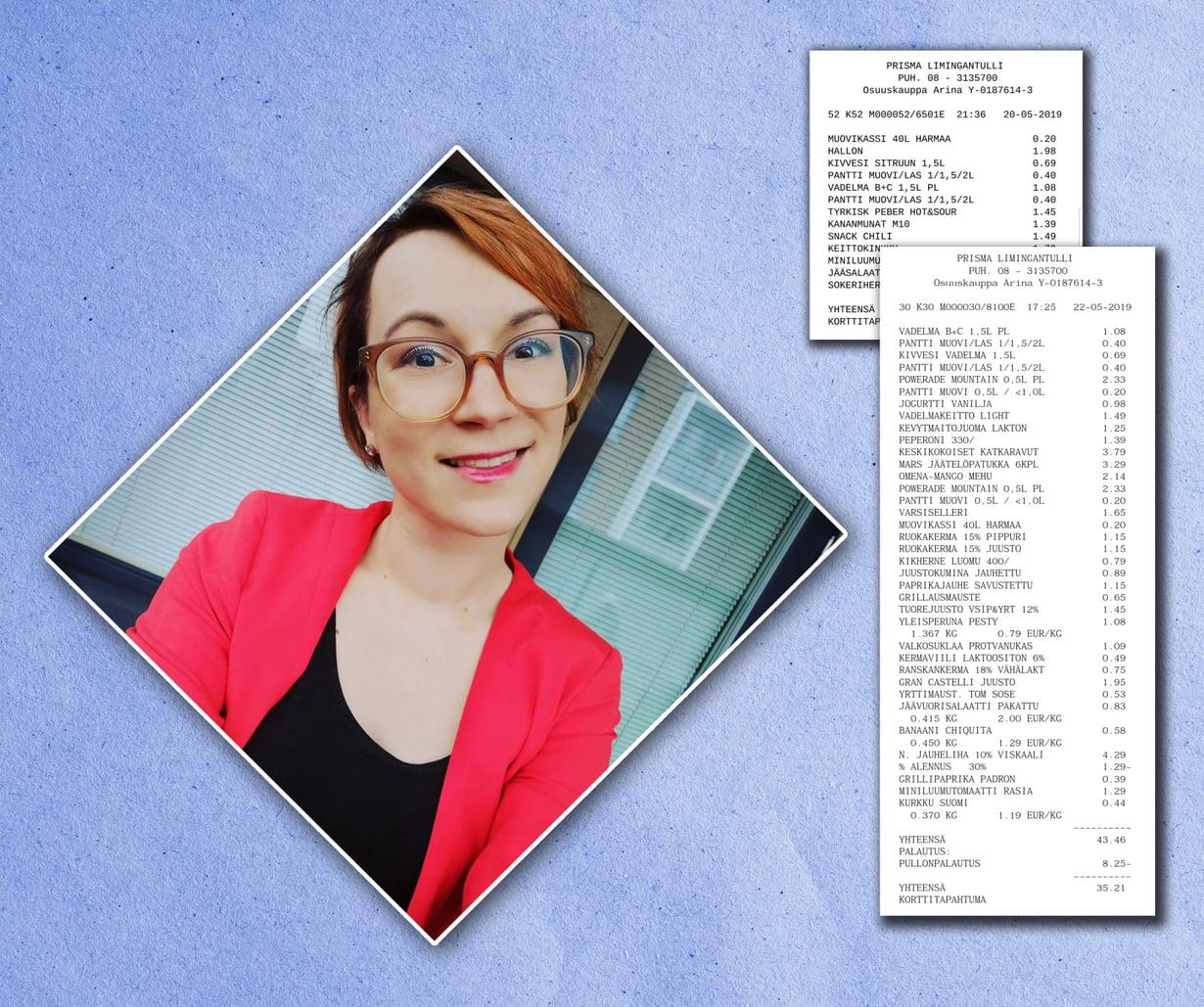 Meeri Leppälä kertoo säästävänsä ja ostaa muun muassa lihat alennushintaisina.
