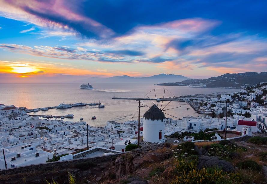 Kaunis Mykonos, yksi Kreikan saarista, on täydellinen päiväretkikohde.