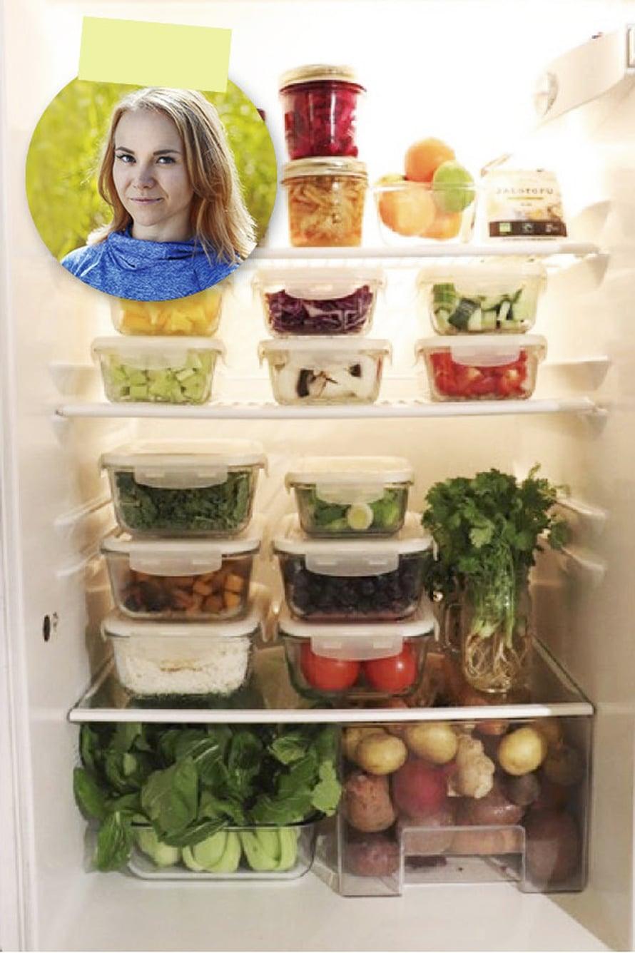 Toimivan kotisalaattibaarin salaisuus on tehokkaasti järjestetty jääkaappi.
