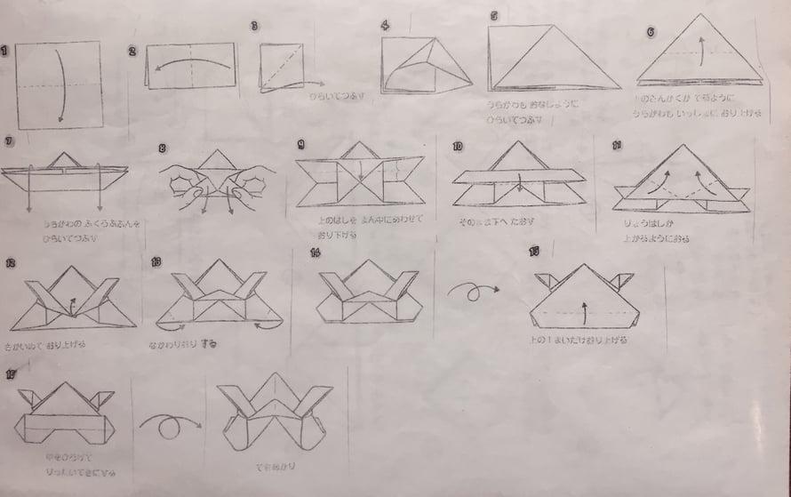 16-osainen ohje modernin kilpikonnaorigamin tekemiseen.