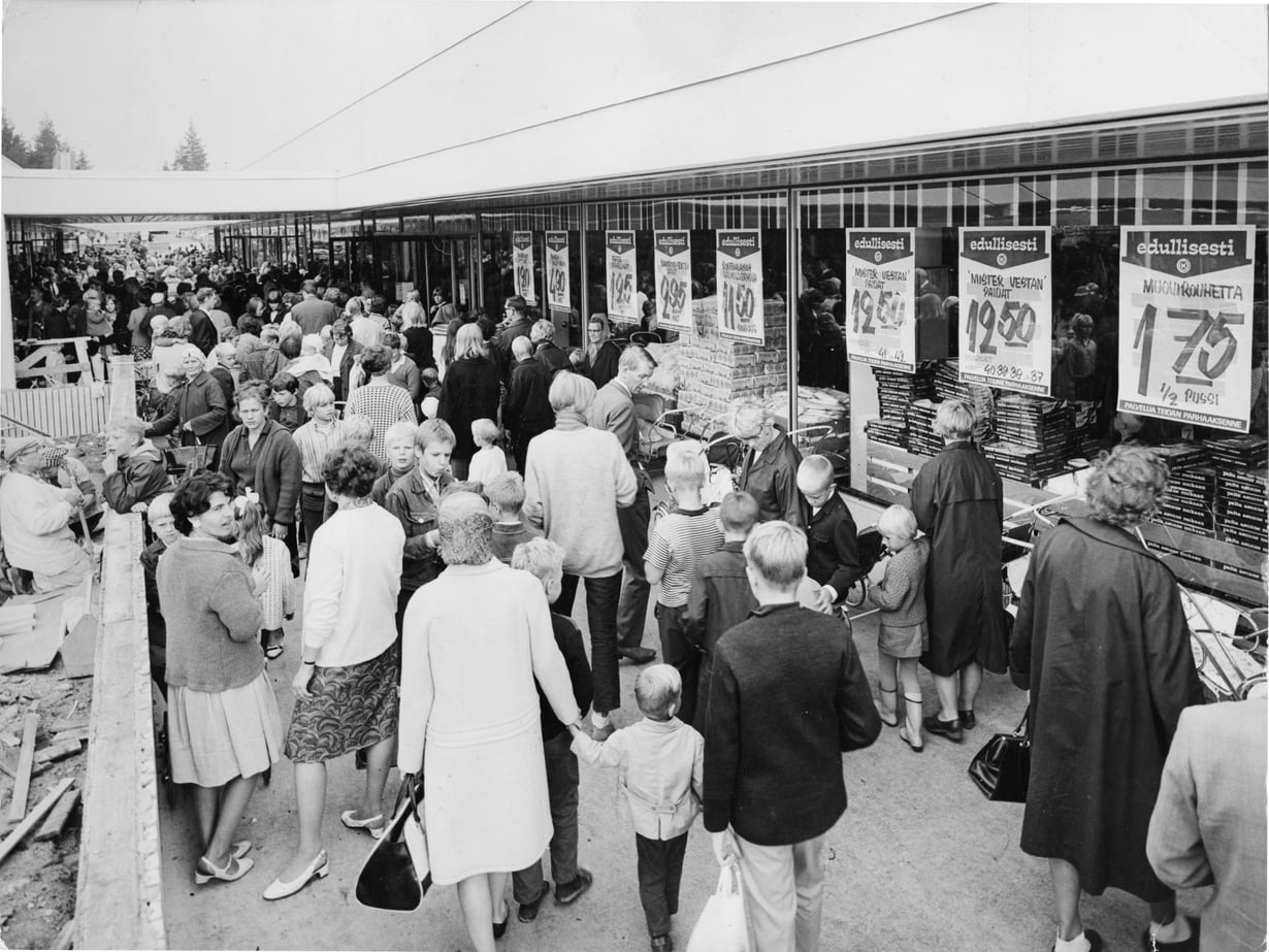Lähiönostalgiaa Kontulan ostarilta vuodelta 1967. Kuva: Sanoma-arkisto