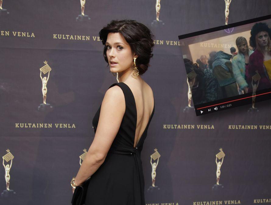 Krista Kosonen Venla-gaalassa 2016 ja Blade Runner 2049 -trailerissa. Kuvat: Sanoma-arkisto ja kuvakaappaus