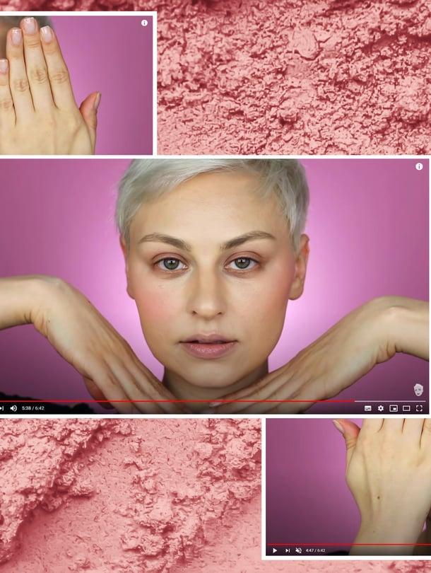 Tubettaja Alexandra Anele näyttää, miten poskipunan sijoittelu vaikuttaa kasvojen muotoon.