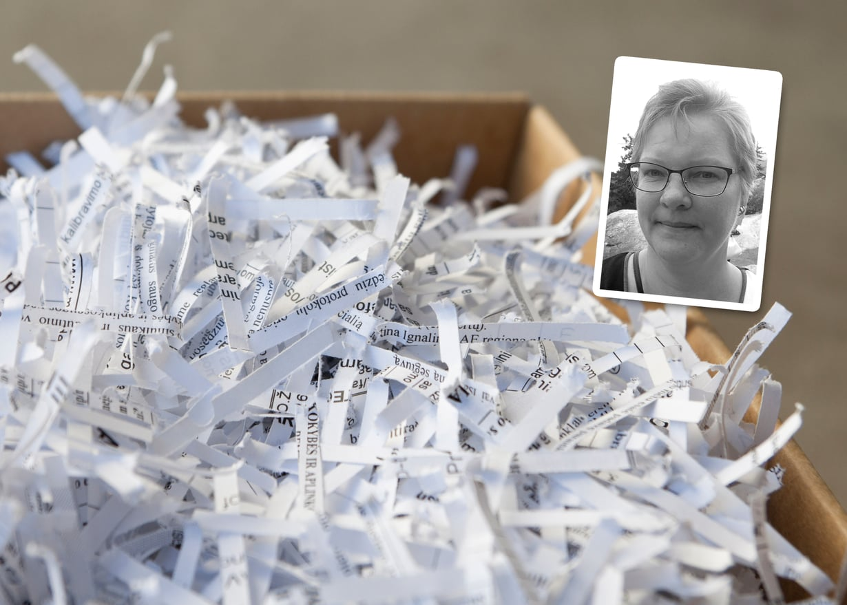 Marjo Venno pisti kaikki syöpään liittyvät paperit silppuriin. Se teki hyvää. Kuva: Shutterstock ja Marjo Venno.