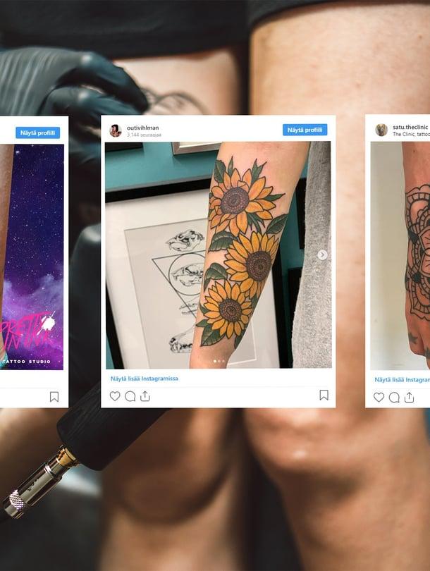 Suomalaiset innostuvat nyt vesiväri-, kukka- ja mandalatatuoinneista. Tatuointien tekijät vasemmalta oikealle: Niina Nyqvist / Pretty in Ink, Outi Vihlman / Impact Tattoo, Satu Virkkunen Carvalho / The Clinic.