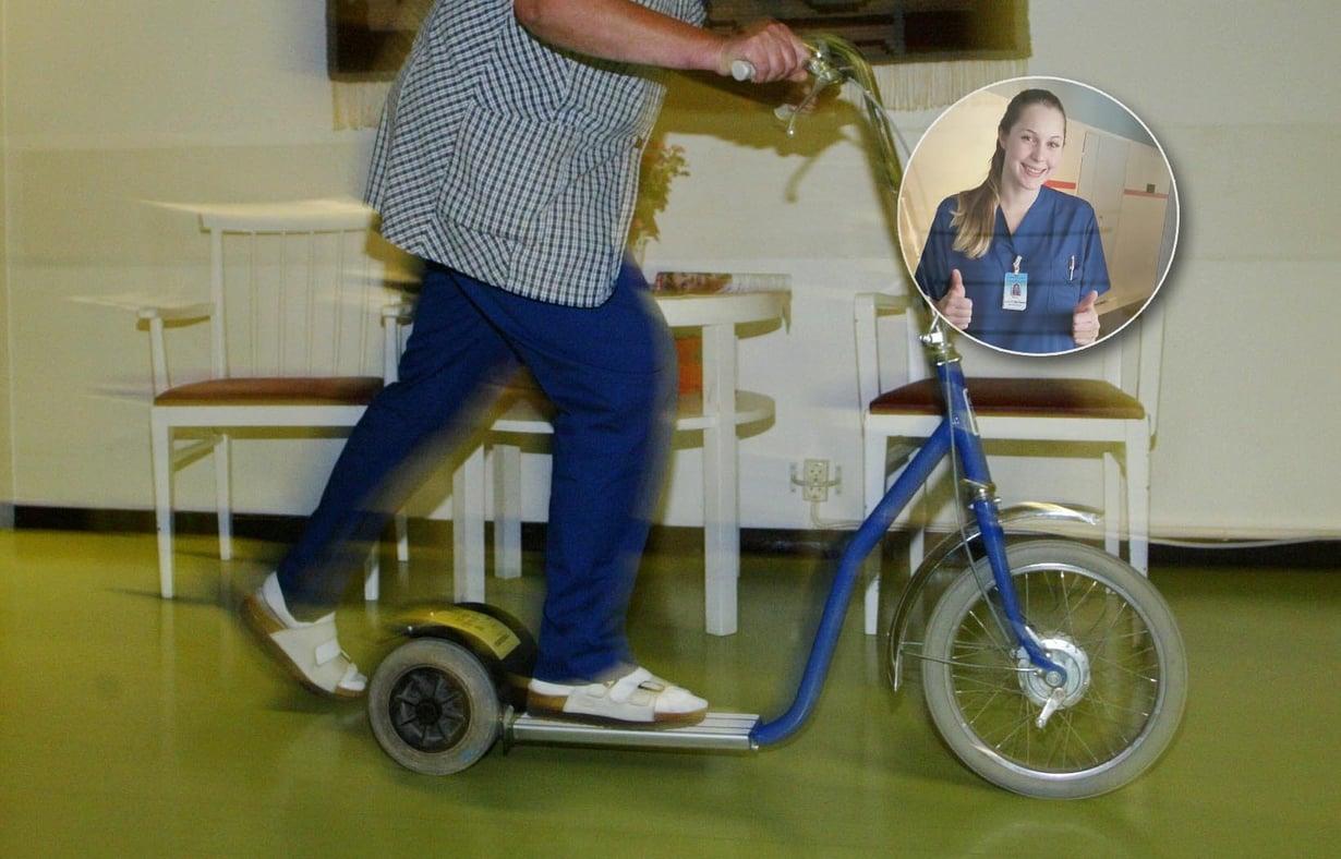 Onko kätevämpää työkulkupeliä kuin suomalaisen sairaalan potkulauta, sanoo Sanna Agombar. Kuvat: Sanoma-arkisto ja Sannan kotialbumi
