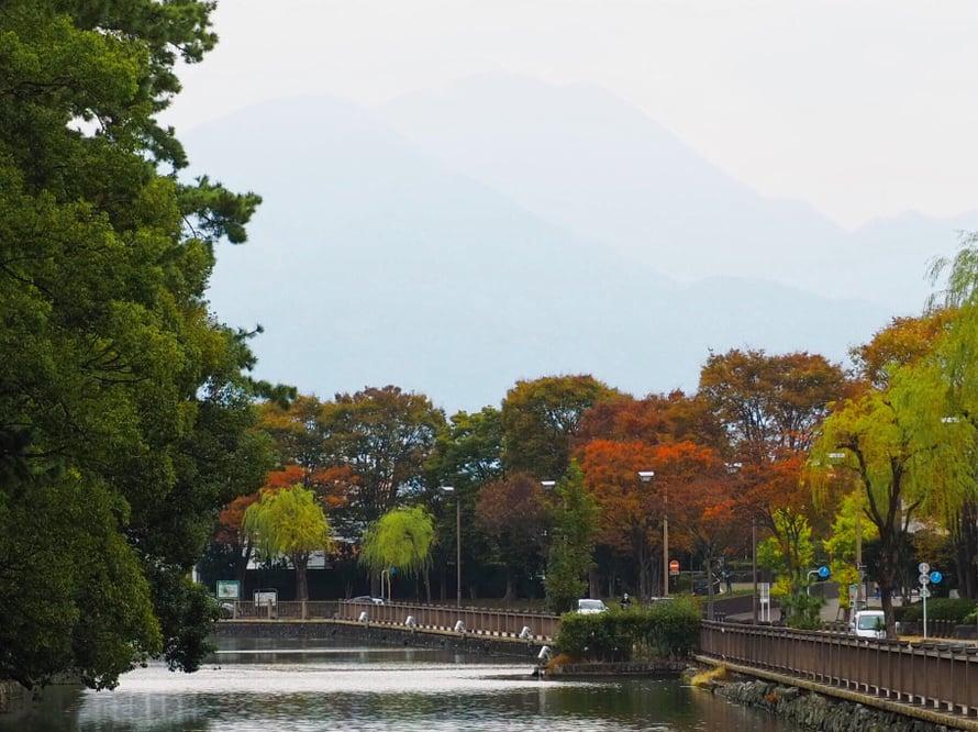 Ruskaa linnajoen ympärillä Shizuokassa marraskuussa 2018.
