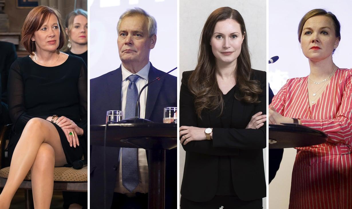 Ne hallituskriisin todelliset osapuolet. Vasemmalta oikealle: Sirpa Paatero, Antti Rinne, Sanna Marin ja Katri Kulmuni.