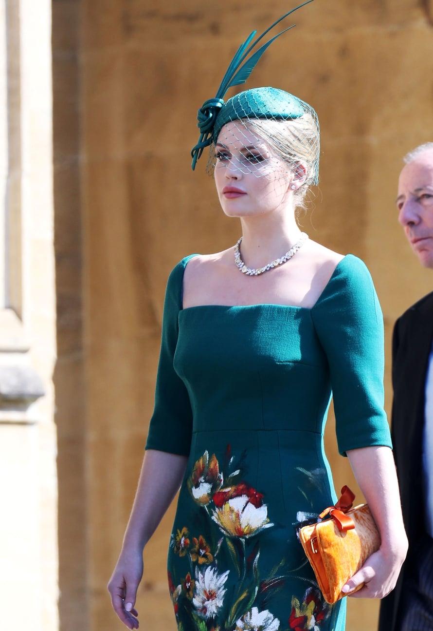Lady Kitty Spencer prinssi Harryn ja Meghan Marklen häissä toukokuussa 2018.