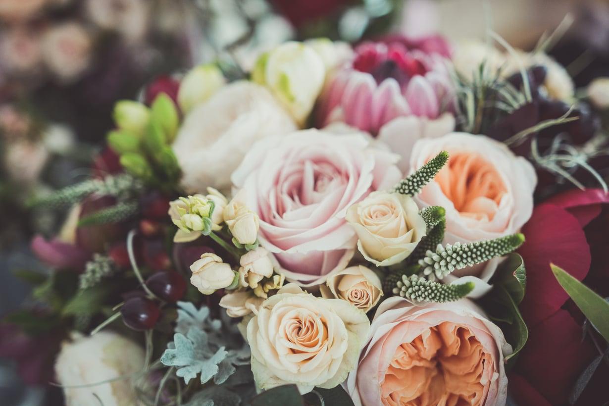 Äiti-vauvakimpussa voi käyttää sesongin kukkia, ja esimerkiksi pionit toimivat hyvin. Kuva: Shutterstock
