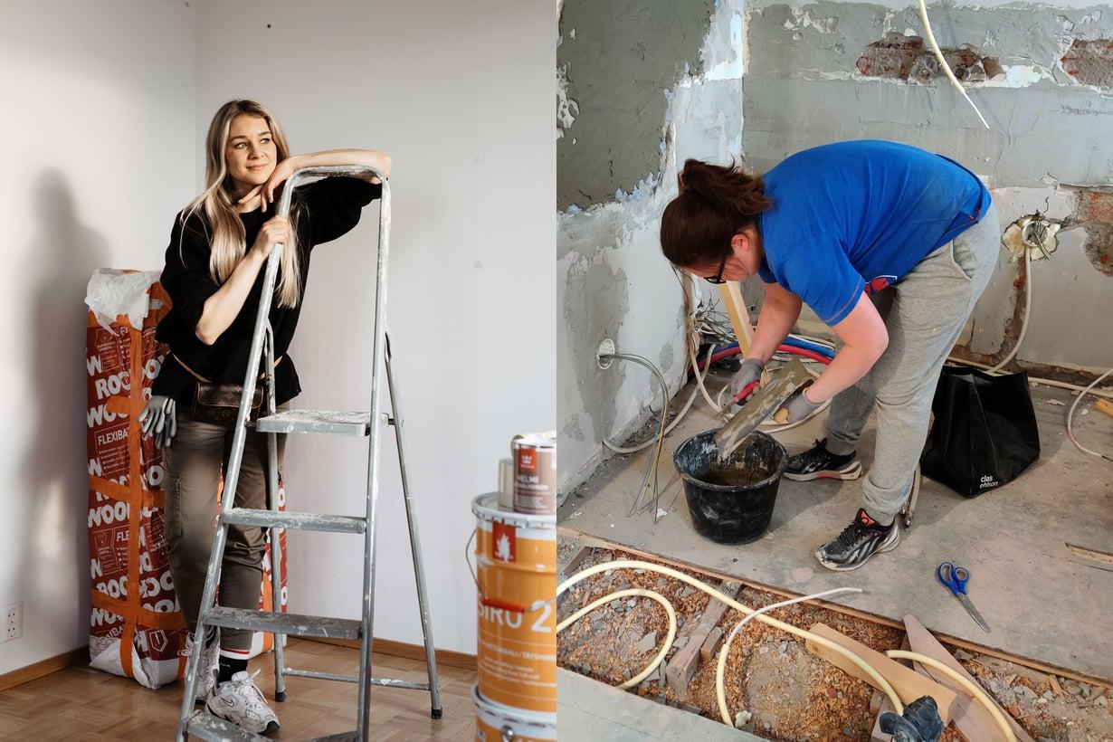 Jenny Nyman ja Maarit Oikarinen tienaavat asuntojen remontoimisella ja nopealla jälleenmyynnillä.