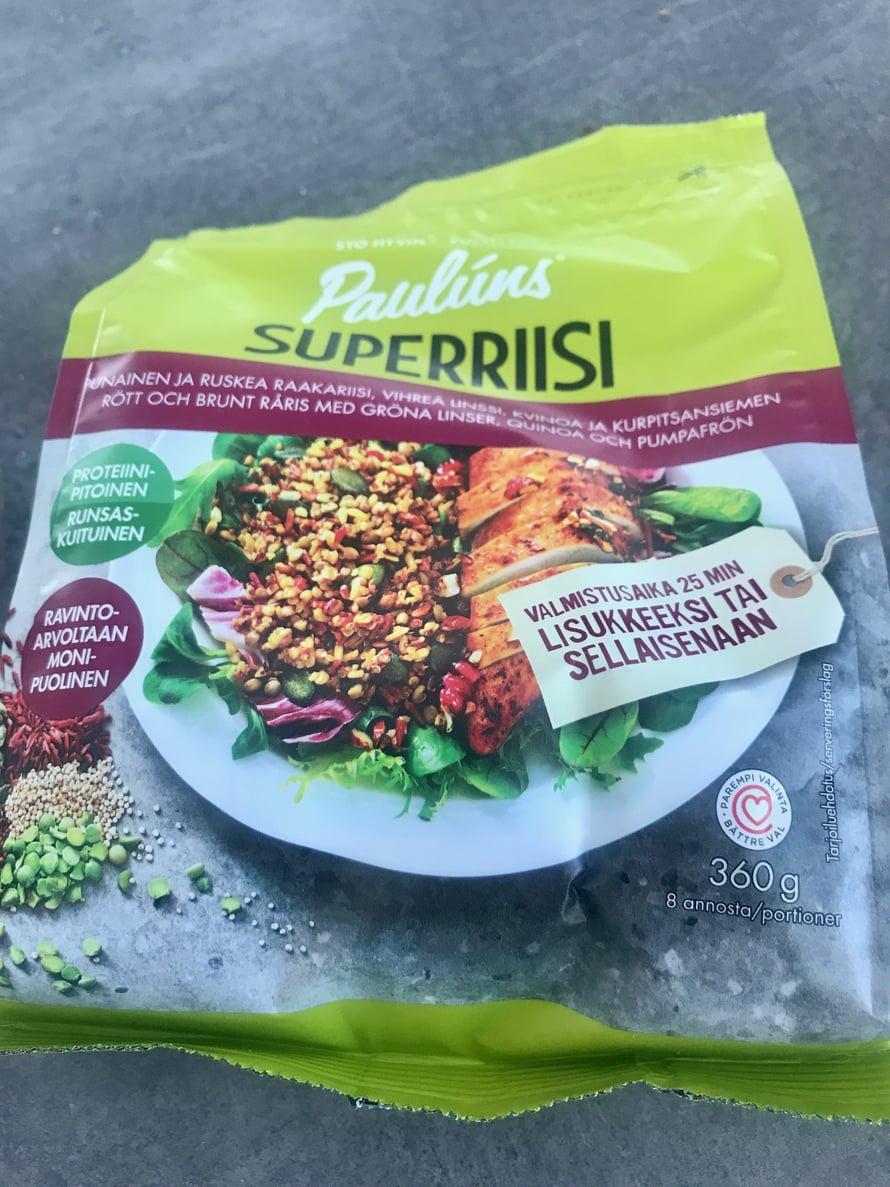Ruokalistat on suunniteltu sillä silmällä, että kaikkia tuotteita ei saa jokaisesta kaupasta. Esimerkiksi tätä superriisiä ei saa Lidlistä..