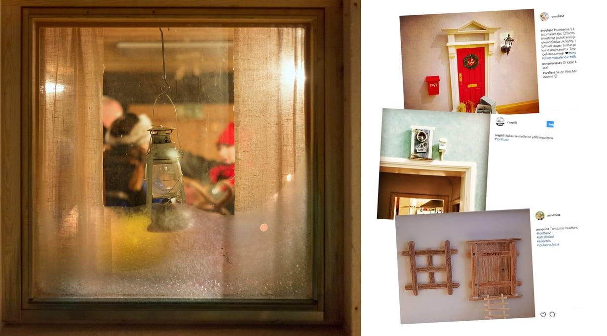 Tontut kurkkivat ikkunoista, mutta myös ovista. Kuvat: Sanoma-arkisto / Karoliina Paatos ja Instagram
