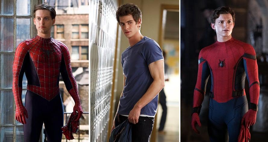 Kaikki Spider-Manit rivissä. Ensimmäinen oli Tobey Maguire (vas.), toinen Andre Garfield ja nykyinen Tom Holland.