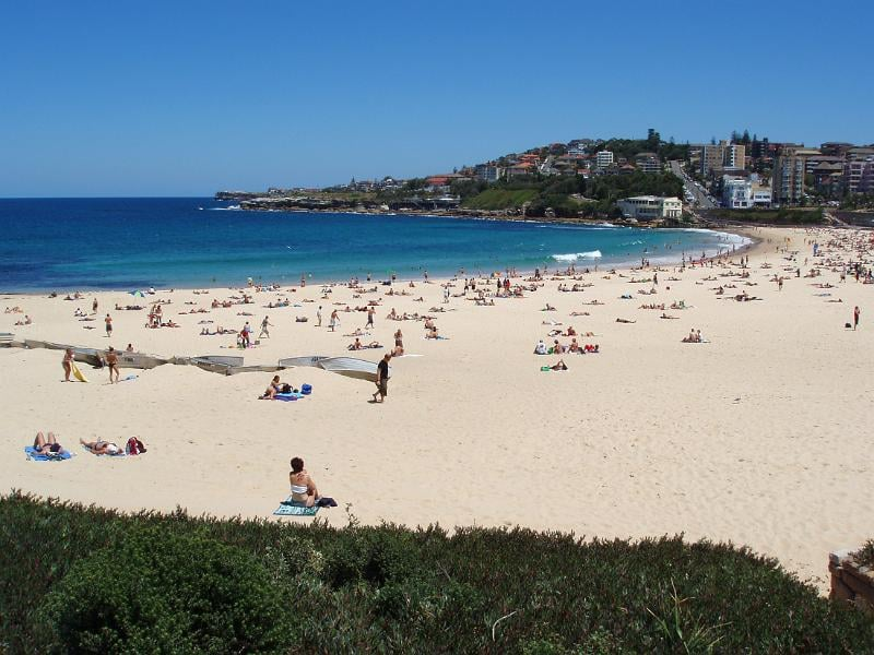 Scenic view on a hot summer day of the golden sands of Coogie Beach, Sydney, Australia dotted with sun worshippers and tourists and a calm blue ocean with no surfers