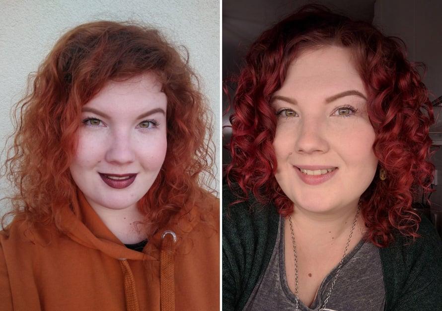 Toimittajan hiukset ennen ja jälkeen curly girlin. Melkoinen ero!