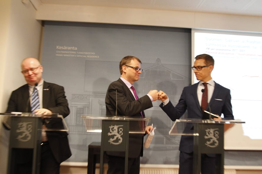 Juha Sipilä ja Alexander Stubb vauhdissa vuonna 2016.