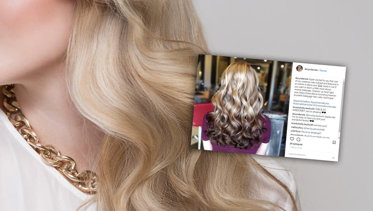 Käänteinen balayage tuo vaaleisiin hiuksiin uutta ilmettä. Kuva: Colourbox ja Instagram