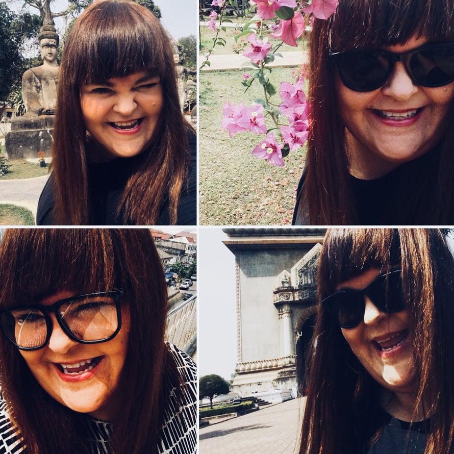 Viime päivien selfiesatoa Laosin Vientianesta, kun suoristuksesta on kulunut pian tasan kuukausi. Aurinko vähän häikäisee, mutta ei haittaa: hiukseni ovat suorat - enkä ole tehnyt niille aamuisin muuta kuin kevyen harjauksen. Yhdessä kuvassa myös toinen aasialaistrendi, jota oli pakko kokeilla: mahdollisimman isot tekolasit. Ne ovat nyt in, ainakin Laosissa!