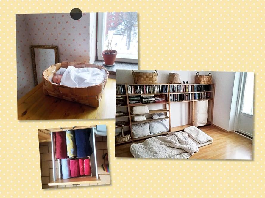 – Päivisin rullaamme patjat ja vuodevaatteet sivuun. Ne mahtuvat  30 sentin levyiseen Lundian kirjahyllyyn. Rullailuun menee saman verran aikaa kuin ennen sängyn petaamiseen. Pyyhkeet mahtuvat kolmeen keittiön vetolaatikkoon.