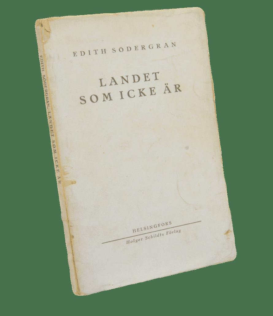 Edith Södergranin (1892–1923) postuumi kokoelma Landet som icke är (suom. Maa jota ei ole) ilmestyy. Lyriikan traditioista vapaa modernisti on kansainvälisesti tunnetuin suomalaisrunoilija. Hänen tuotantoaan voi lukea yli 40 kielellä.